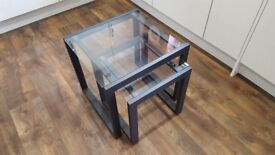 Nest of 2 metal and glass tables