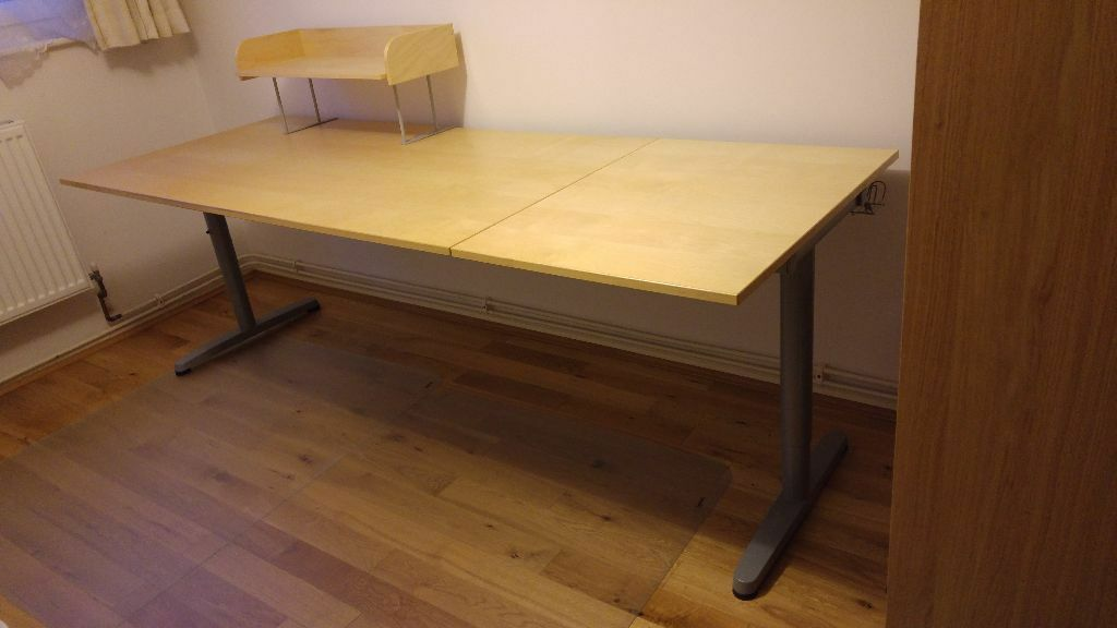 Desk With Adjule Legs Side Extension And 2 Coordinated Top Shelves Ikea Galant