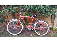 Red beach cruiser bike