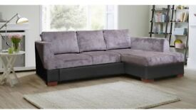 Brand New Madiera Suede Chenille Fabric Corner Sofa Bed with Ottoman Storage, Double Size Bed Grey
