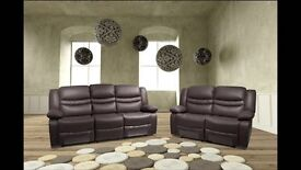 Venice Brown BRAND NEW Leather Recliner Sofas