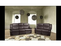 Venice Brown BRAND NEW Leather Recliner Sofa Set