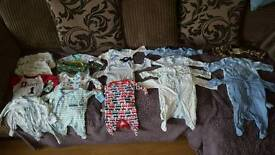 Newborn first size and up to 1 month baby boy bundle.