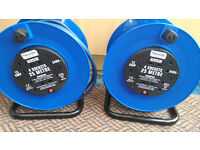 1320WATTS 13AMP 240VOLTS BARELY USED / NEW - 25 METRE EXTENSION CABLE REELS WITH FOUR PLUG SOCKETS!