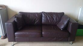 Dark brown John Lewis leather sofa