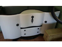 sellers refurbished sideboard /drinks cabinet in white with black handles