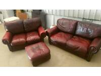 Oxblood leather 3 piece suite can deliver