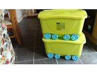 Storage boxes with lids on wheels x 2