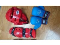 Karate Mitts, Head Protector and Shin Protectors