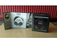BRAND NEW BOXED HIGH QUALITY AKAI HEADPHONES BROWN OR BLACK