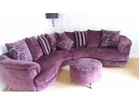 Gorgeous purple fabric corner sofa