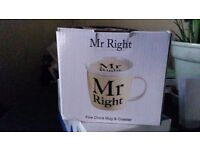 'Mr Right' Fine bone china mug and coaster - ideal gift for valentines or birthday for him