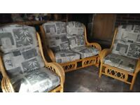 Three piece cane furniture set - excellent condition, comfortable, sturdy