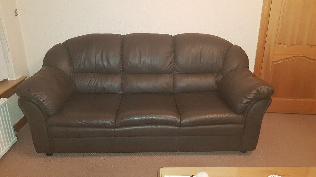 BROWN LEATHER SOFAS, 2&3 SEATER, R&J LEATHER
