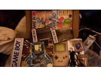 Original Gameboy boxed with original books, several games & link lead retro collector's item