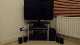 """32"""" LG TV + SONY BRAVIA DVD inc 5.1 Surround Sound Speakers + Black Glass TV Stand_ALL FOR £130"""