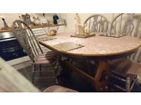 Dining table rose pink shabby chic style