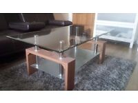 Dark wood Glass Coffee Table. £40 ono. Collection ONLY.