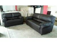 NEW Graded Brown Leather 2+3 Seater Sofa Suite FREE Local Delivery