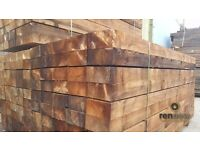 Brown Softwood Garden Sleepers | Tanalised | Landscaping Pine | 2400 x 200 x 100