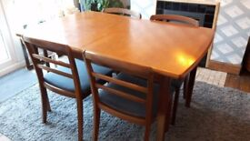 MID CENTURY GPLAN EXTENDING TABLE & 4 CHAIRS RETRO