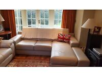 Taupe/grey leather L shaped Couch Excellent Condition