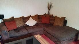 ***LARGE CORNER SOFA AND ARM CHAIR IN CHOCOLATE BROWN GOOD CONDITION***