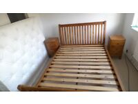 Kingsize solid wood bed frame and matching bedside cabinets