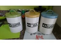 Retro Design Tea, Coffee & Sugar Canister Set