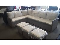 RATTAN EFFECT GARDEN CORNER SOFA AND 3 STOOLS CAN DELIVER (6FT X 8FT)