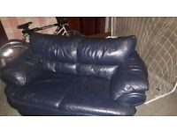 2 seater blue leather sofa