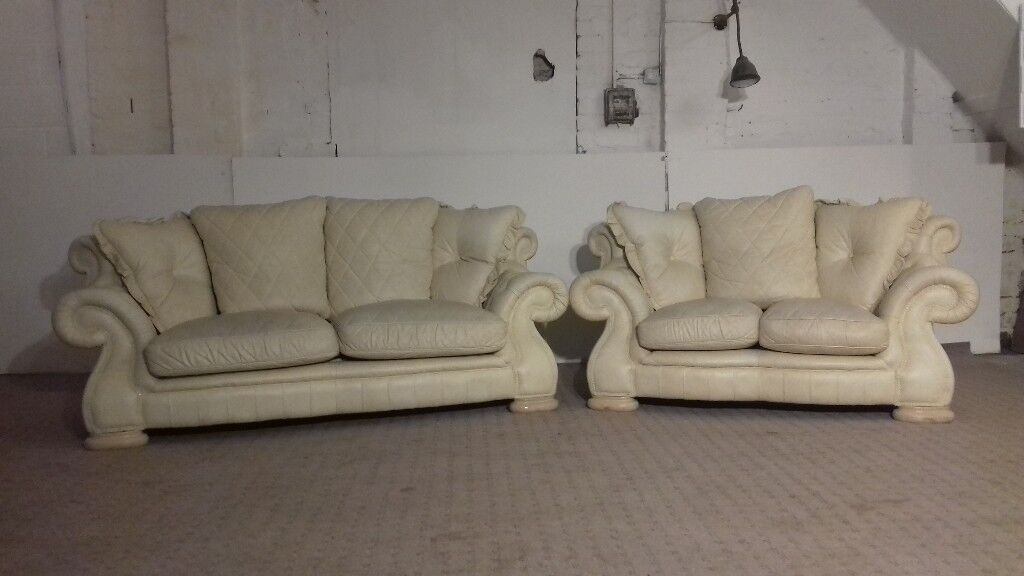 Pendragon Chesterfield 3 & 2 Seater Cream Leather Sofa - DELIVERY AVAILABLE  | in Bradford, West Yorkshire | Gumtree
