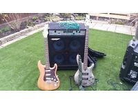 YAMAHA BASS GUITAR AND ASHDOWN 4 X 10 BASS COMBO WITH STAG ELECTRIC GUITAR THROWN IN