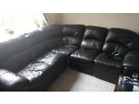 Black Leatherette Corner Sofa