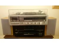 Hi-fi record player toshiba amplifier sherwood kenwood cd and jvc speakers