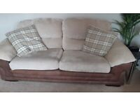 Two large 3 seater sofas and curtains
