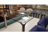 Modern Toughened Glass Coffee Table With Chrome Legs