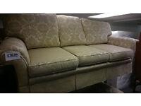 3 seat cream/gold material sofa settee + single armchair