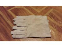 cream suede gloves size s/m