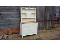 Vintage Painted Dresser Cream Stripped Top Cupboard Shelves Kitchen