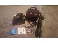 Nikon d5200, lens, carry bag, tripod