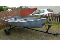 12ft fibreglass fishing boat with outboard pike trout spinning fly rod