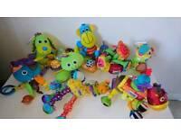 Set of eight lamaze baby sensory toys