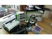 Xbox 360 bundle 2 guitars, racing wheel, 20 games, kinect