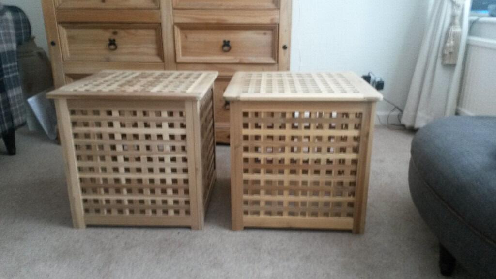 Ikea Hol Wooden Lattice Storage Boxes X 2 In Poynton