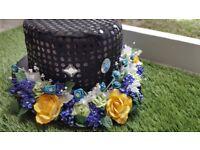 Handmade Rose black Top Hat. Unisex fancy dress Good quality