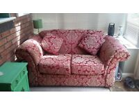Two seater red & gold sofa vgc