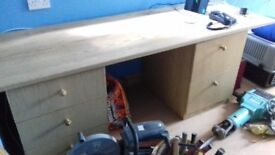 Fitted wooden desk with drawers and filing cabinet