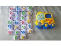 Leapfrog Yellow Bus Fridge Phonics Magnetic Alphabet Letter Set Complete set!!