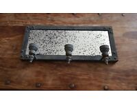 Industrial Style Distressed mirror and candle holder